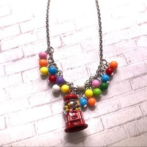 Gum-ball machine bead red candy necklace rainbow